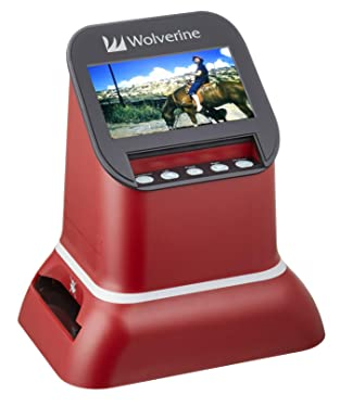 "Wolverine F2D Saturn Digital Film & Slide Scanner - Converts 120 Medium Format, 127 Film, Microfiche, 35mm Negatives & Slides to Digital JPEG - Large 4.3"" LCD w/HDMI Output (Red)"