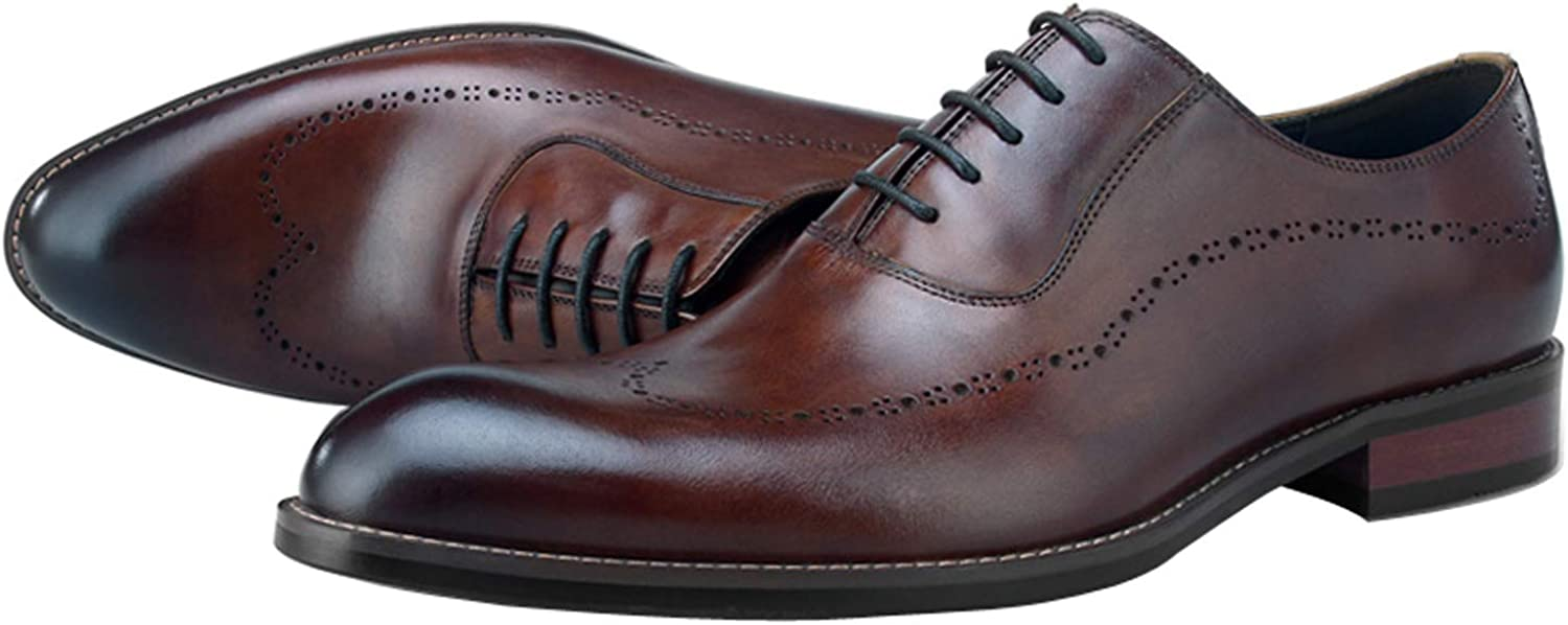 BONGZUO Dress Leather Oxford shoes, Business Dress Leather UK Carved Men shoes Oxford Laces Leather shoes Men, YMA852-W10