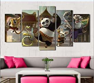 Fbhfbh Landscape Canvas Painting 5 Pieces Kung Fu Panda Home Decoration Painting Hand Painting Canvas Art Poster Cartoon-4X6/8/10Inch,with Frame