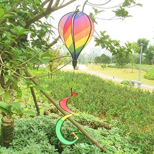 Xiaoyao24 Rainbow Stripe Windsock Hot Air Balloon Wind Spinner Outdoor Garden Yard Decor