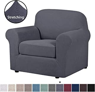 H.VERSAILTEX 2 Piece Stretch Stylish Furniture Cover/Protector Featuring Jacquqard Textured Twill Fabric, High Spandex Lycra Slipcover Machine Washable/Skid Resistance (One Seater Chair, Gray)