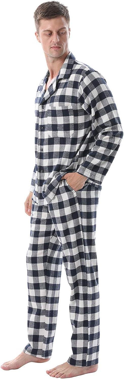 LANBAOSI Mens Pajama Sets Soft Flannel Cotton Sleepwear Long Sleeve Button Down Plaid Shirt Pants Pjs Set Loungewear