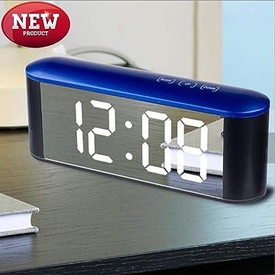 WYN123 Reloj Despertador Digital Reloj de Mesa, Reloj Despertador táctil HD, Espejo de Maquillaje