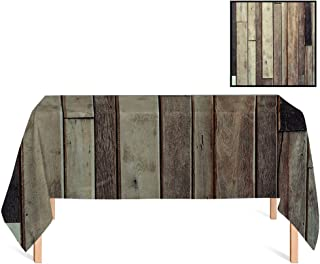 SATVSHOP Decorative Table Top Cover /60x104 Rectangular,Wooden Antique Old Planks Flooring Wall American Style Western Rustic Panel Graphic ES Brown.for Wedding/Banquet/Restaurant.