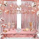 Juego de 152 unidades de vajilla de color oro rosa, decoración para fiestas, platos de cartón, vasos y pajitas, para 25 invitados, mantel, cortinas, globos para cumpleaños, bodas o fiestas