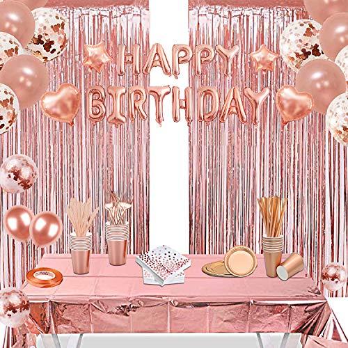 152 Stück Set Rosegold Partygeschirr, Partydeko, Pappteller Partybecher Servietten Strohhalme für 25 Gäste Tischdecke,Vorhänge,Luftballon für Geburtstag Hochzeit Party