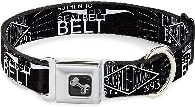 "Buckle-Down 9-15"" Bd Authentic Seatbelt Belt Ny-La Black/White Dog Collar Bone, Small"