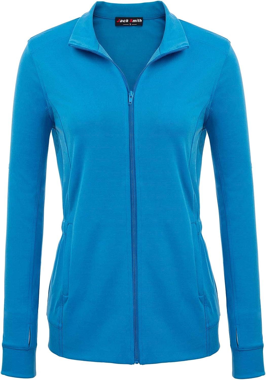 JACK SMITH Women's Long Sleeve Stand Collar Elastic Waist Zipup Workout Jacket