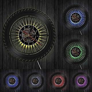 wwwff Reloj de Pared de Rueda de Rendimiento Reloj de Rueda de automóvil Antiguo Servicio de automóviles Ventas Reparación de Garaje Cartel de Vinilo Cartel de Pared Decorativo