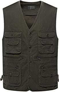 Christor Autumn Winter Men Waistcoat Jacket Lightweight Multi-Pocket Mesh Vest Thin Photography Fishing Vest Top Outwear