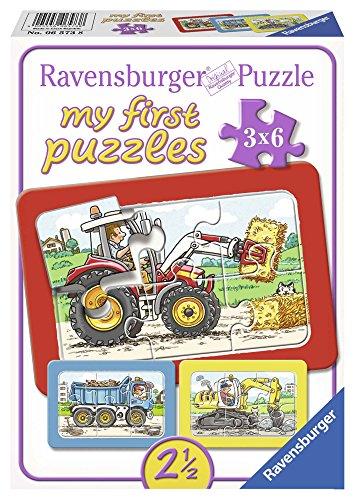 Ravensburger Puzzle Kinder Bagger, Traktor Und Kipplader, Rahmenpuzzle, My First Puzzles Für Kinder Ab 2.5 Jahren, 18 Teile