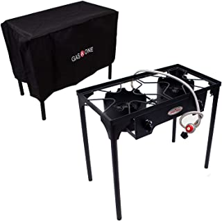 GasOne B-5000+50450 Burner & Cover 2 Burner Gas Stove Outdoor Propane, Black