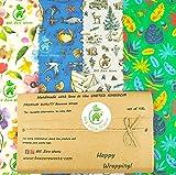 Envolturas de cera de abejas, juego de 4 XL, colores aleatorios, BEE Zero Waste, UK HANDMADE, biodegradable, tapas ecológicas (Juego de 4XL)