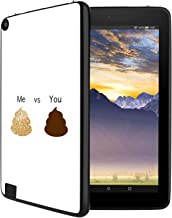 GinHo Customized Protective Cover with Slim Soft Durable TPU Ultra-Black Silicone UV Printing Case for Glittery Poop Emoji Kindle Fire 8