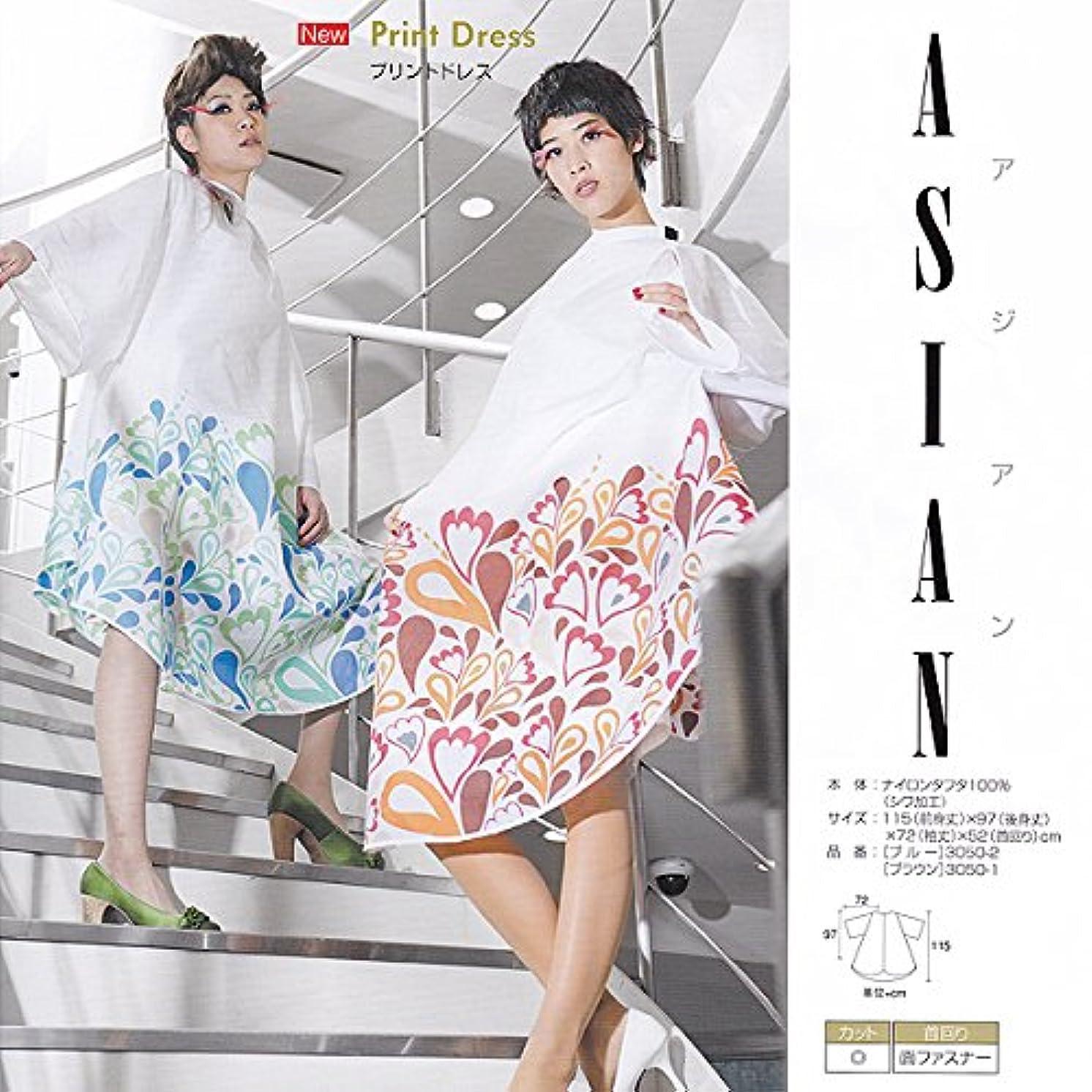 会員ウェーハ会話WAKO ASIAN アジアンプリントドレス №3050 3050-2(アジアンブルー) 115(前身丈)×97(後身丈)×72(袖丈)×52(首回リ)