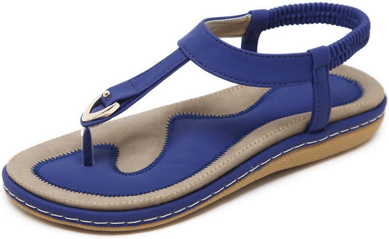 WeenFashion Women's Elastic Low-Heels PU Solid Split-Toe Sandals