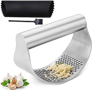 Presse-ail en acier inoxydable Gadget de cuisine avec éplucheur d'ail et brosse de nettoyage