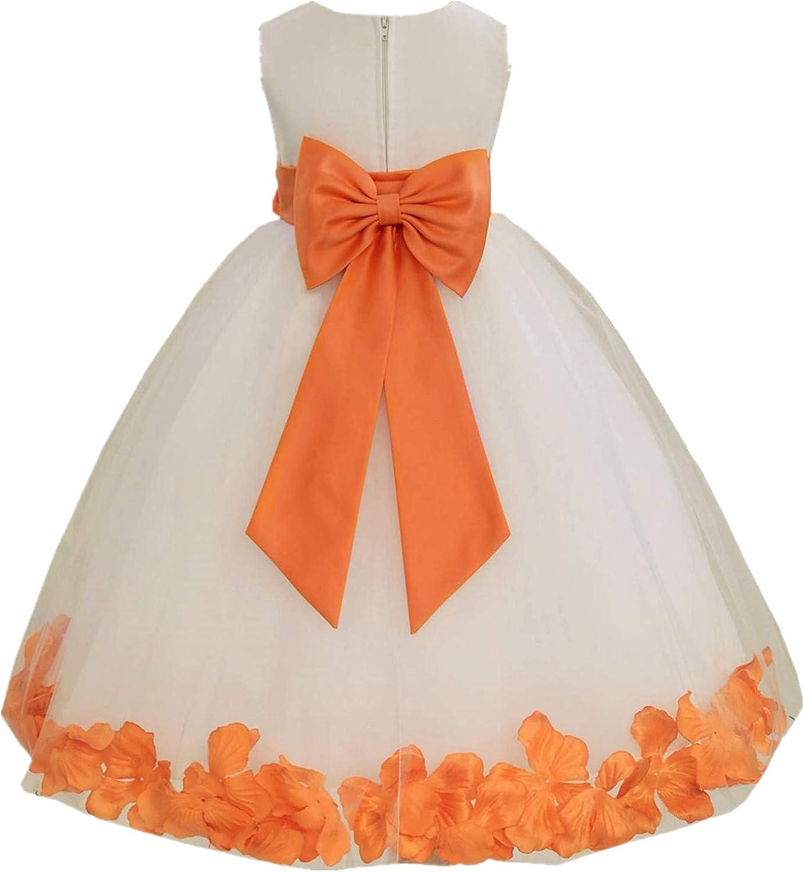 Ivory Tulle Rose Floral Petals Toddler Flower Girl Dresses Bridal Gown 302T M