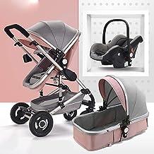 TXTC 3 En 1 Cochecito del Carro Plegado Sillas De Paseo Bebé Antichoque Springs High Ver Carriolas De Bebé del Buggy De Bebé con La Cesta (Color : Pink)