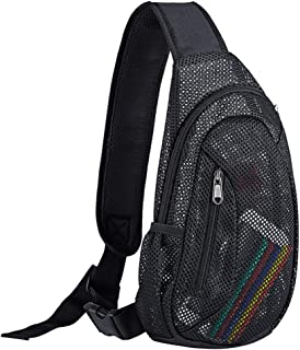 Mesh Sling Bag,  Lightweight Zippered Crossbody Backpack,  Casual Chest Daypack for Women & Men,  Perfect for Hiking,  Sport or Concerts