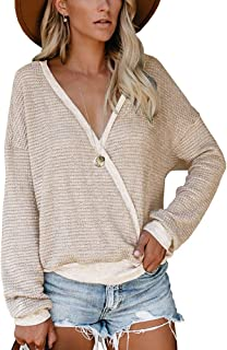 Womens Tops Wrap Front V Neck Waffle Knit Casual Tunic Shirt Blouse