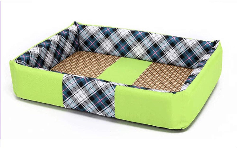 PLDDY pet bed Kennel, Washable, Pet Mat, Dog House, Dog House, Dog Bed, Pet Nest (color   GREEN, Size   S)
