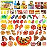 Alimentos de Juguete Set, joylink 139pcs Comida Cocina Juguete Cortar Frutas Verduras Pizza Juego de Plástico para Niños, Juguete Imitación Juego de rol para 3+ Años Niños