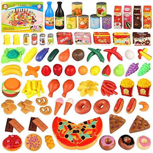joylink 139 Pièce Jeu de Cuisine, Jouet Alimentaire Jeu D'imitation Cuisine Jouet Rôle Jouer, Jouets éducatifs pour Les Enfants Tout-Petits Garçons Filles