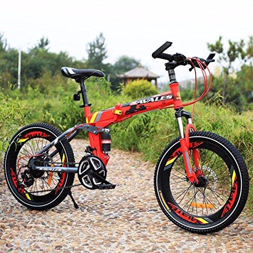 YEARLY Bambini bici pieghevole, Bici pieghevoli studente Lightweight Mountainbike Ammortizzatore 21 velocità Bicicletta pieghevole-Rosso 20inch