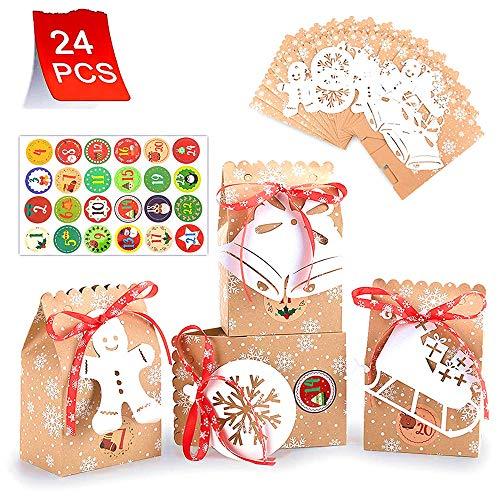 Yucch 24 Pezzi Calendario Dell'avvento Kraft Sacchetti con 1-24 Adesivi numerici+24addobbi Natalizi,Calendario avvento Sacchetto Regalo di Natale, per Decorazioni Feste Natalizienatalizie