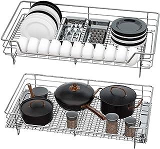Panier de rangement - Organisateur d'armoires de cuisine coulissantes et tiroir sous les casseroles et poêles Étagère coul...