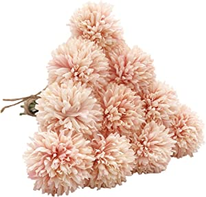 SHINE-CO LIGHTING Artificial Chrysanthemum Ball Flowers Hydrangea Bouquet 10pcs Present for Important People Glorious Moral for Home Office Coffee House Parties and Wedding (Champagne Pink)