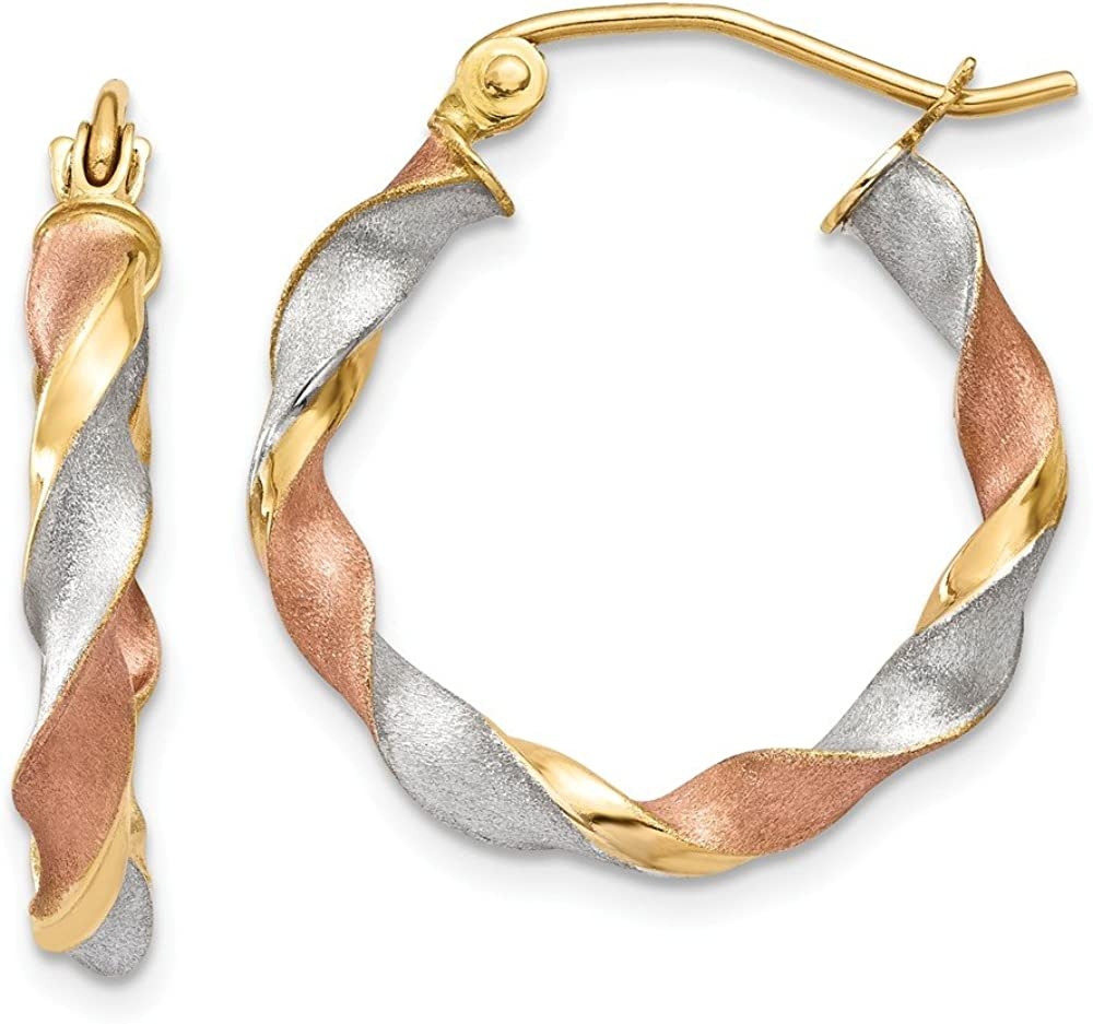 Solid 14k Gold Tri-color Satin Twisted Hoop Earrings (3mm x 23mm)