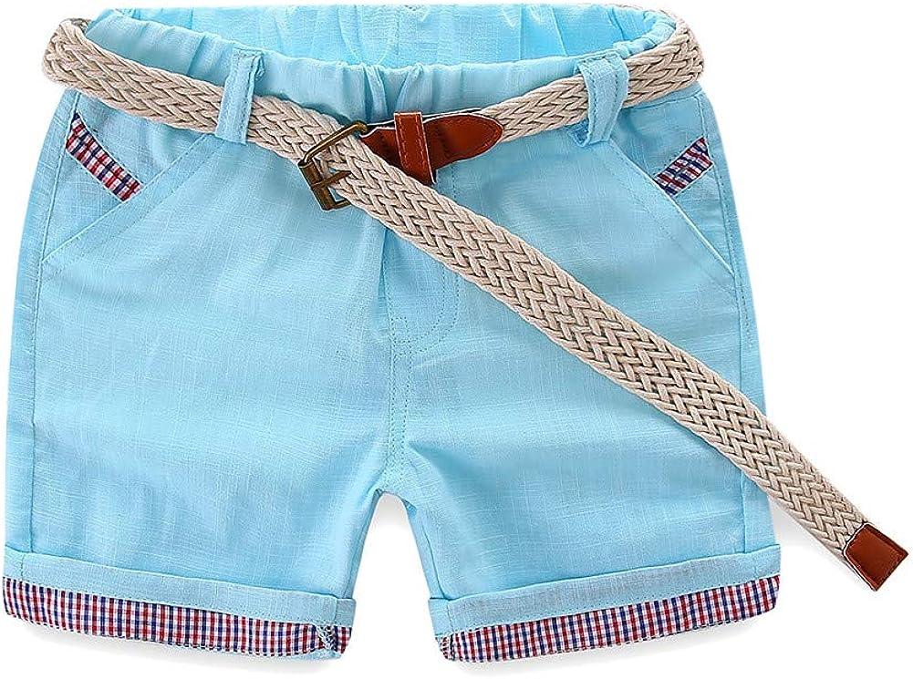 LittleSpring Summer Little Boys Cotton Shorts with Belt Casual