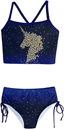 6cbccc8b4ab0d PattyCandy Sky Unicorn in Space & Floral Kids Little Girls Two-Piece  Tankini Swimsuit Size