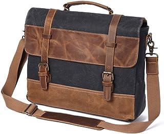 by Vintage Men's Bag Oil Lac Canvas Bag Crazy Horse Leather Briefcase Europe and America Shoulder Messenger Bag (Color : Grey)