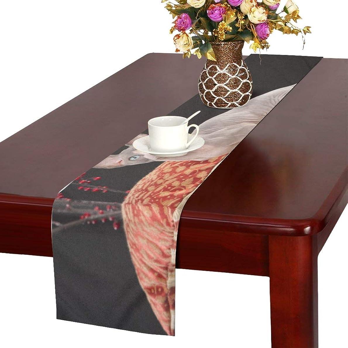 変形過去ビジュアルGGSXD テーブルランナー 優雅なスフィンクス猫 クロス 食卓カバー 麻綿製 欧米 おしゃれ 16 Inch X 72 Inch (40cm X 182cm) キッチン ダイニング ホーム デコレーション モダン リビング 洗える