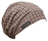Kopfmuss - leichte, ungefütterte Sommermütze- M, blumenkette rosa/beige/braun
