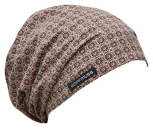Kopfmuss Kopfmuss - leichte, ungefütterte Sommermütze- M, blumenkette rosa/beige/braun