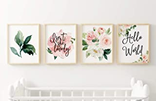 Set of 4 Floral Nursery Wall Art Prints - Perfect For Baby Girl Room Decor Pink and Blush