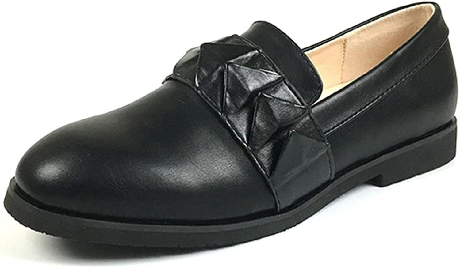 Hoxekle Womens Origami Casual Low Heels Low Top Round Toe Rubber Sole Slip On Loafer shoes