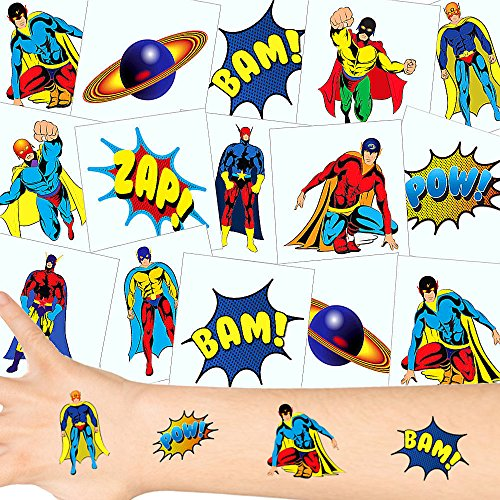 German-Trendseller ® - Kleine Super Heros Tattoos Set ┃ NEU ┃Super Helden Party ┃ Kindergeburtstag ┃ Mitgebsel ┃12 Tattoos