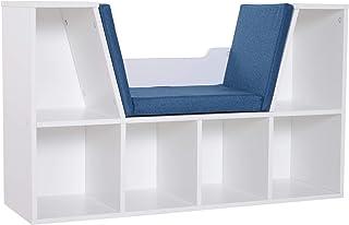 HOMCOM Bibliothèque Banc 2 en 1 Design Contemporain 6 casiers 3 Coussins fournis 102L x 30l x 61H cm Blanc Bleu