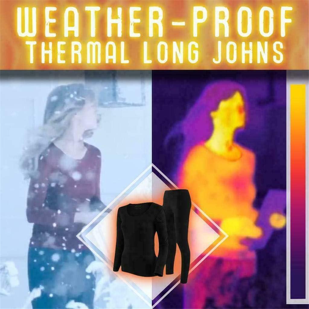FORUU Thermal Underwear for Women Seamless Elastic Thermal Inner Wear Set (Top & Bottom) Winter Base Layering Set