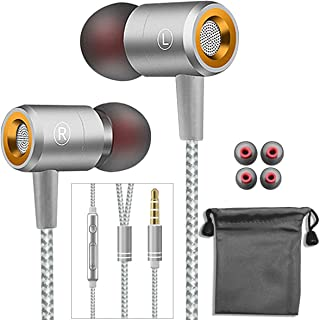 in-Ear Earphone with Mic,3.5mm Wired Earbuds Headset Headphone Compatible with Smartphone, Desktop, Laptop, MP3 (Silver)