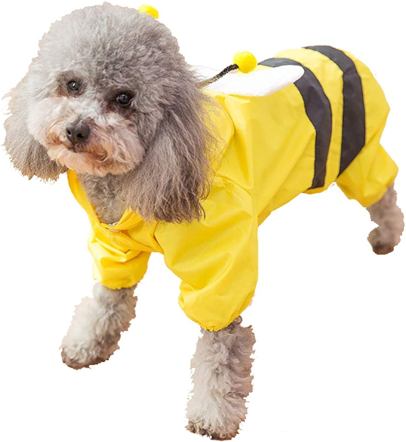 Fashion Pet Dog Raincoat,Dog Rain Jacket with Hood The bee Looks Cute Smart Traction Hole Design Connected to The Traction Belt Waterproof Fabric,XL