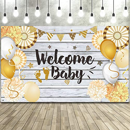 70.8 x 43.3 Pulgadas Decoraciones de Baby Shower, Tela Grande Hecha Baby Shower Banner Telón de Fondo Photo Booth Fondo para Baby Shower Fiesta (Welcome Style)