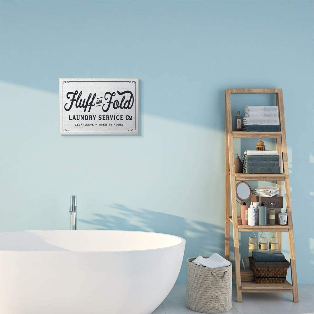 Wall Plaque 13 x 19 Stupell Industries Fluff and Fold Laundry Room Vintage Country Sign Designed by Lettered and Lined Art