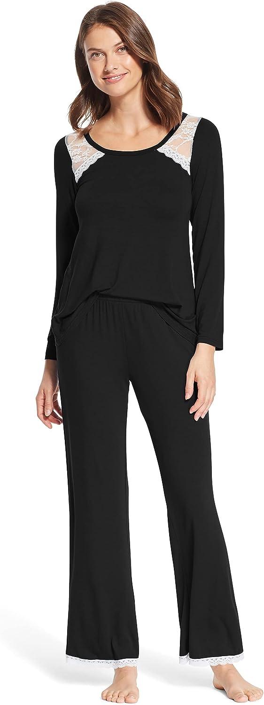 kathy ireland Womens 2 Piece Long Sleeve Lounge Shirt Pajama Pants Sleep Set (1X, 2X 3X available)