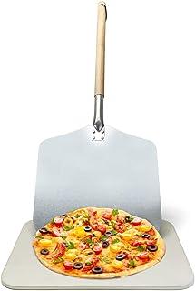 joeji's Kitchen Auténtico Conjunto de Piedra Pizza Italiana y Palas | Piedra refractaria de Pizza para Horno en casa | Piedra Pizza Horno Barbacoa | Redonda, 30 cm x 38 cm